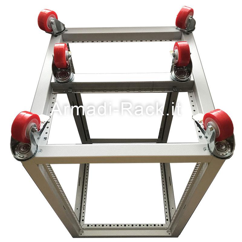 struttura rack in acciaio con ruote multiple ad elevata portata