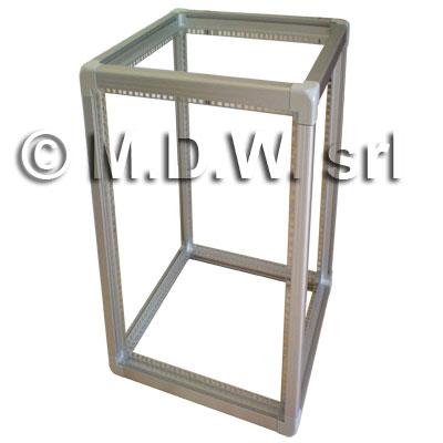 telaio rack open frame in alluminio con profili estrusi imbullonati su giunti a tre vie