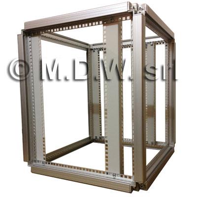 """telaio rack in alluminio con profili 19"""" regolabili"""