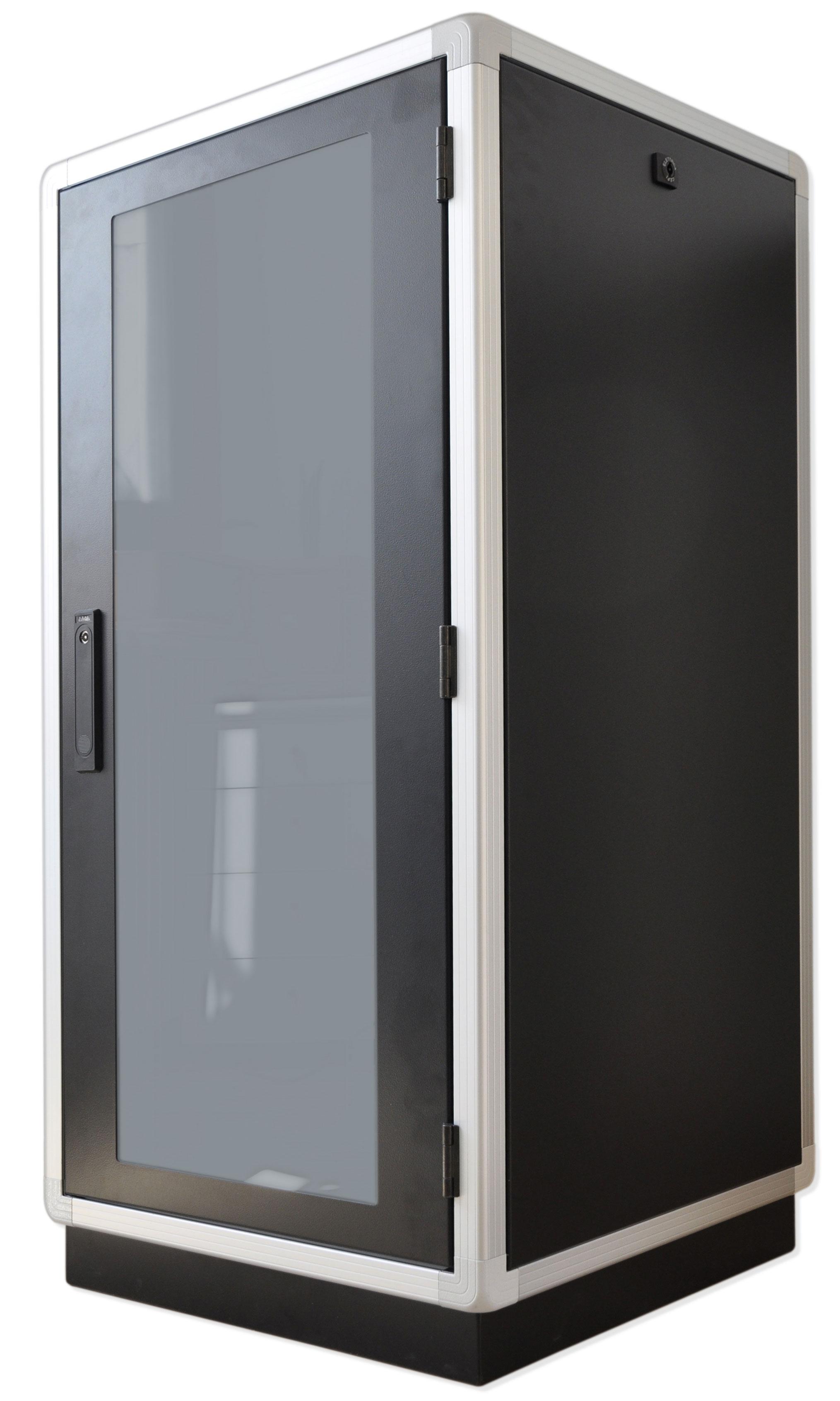 """armadio rack 19"""" con struura in alluminio e coperture in acciaio verniciato nero ral 9005"""