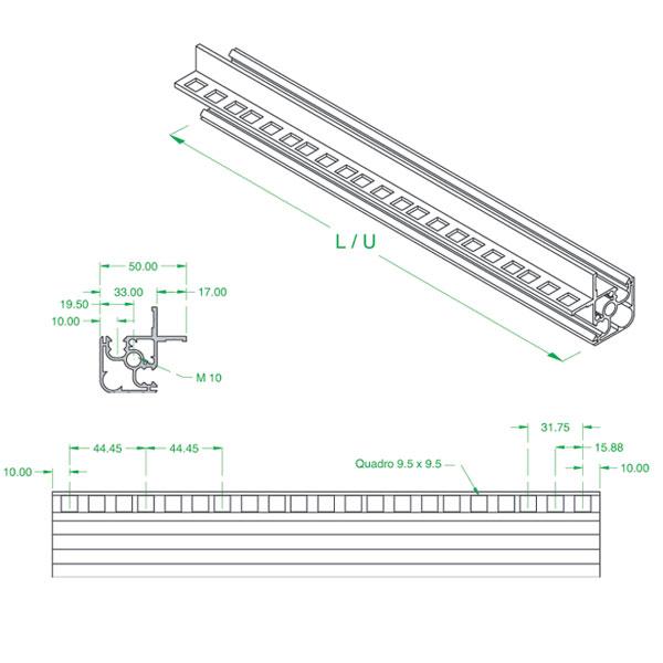 profilo in alluminio estruso con alette forate a passo rack