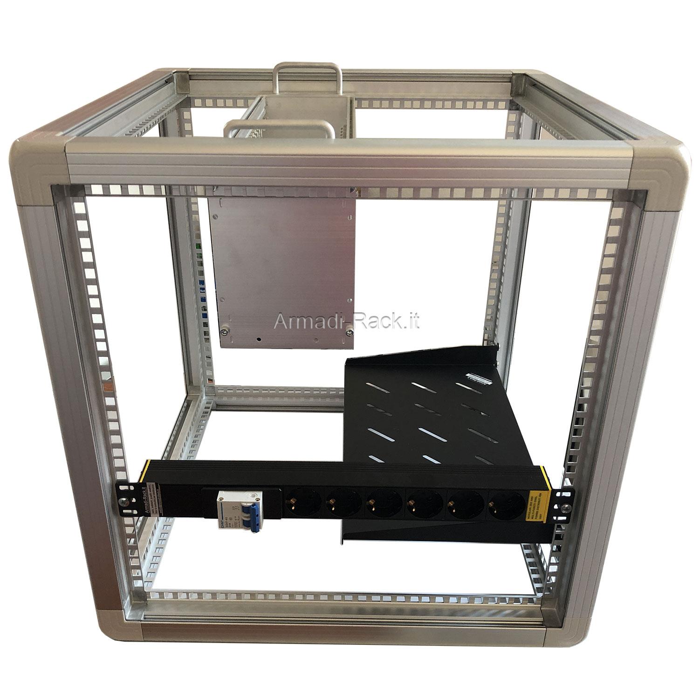 Open frame in alluminio anodizzato, telaio rack a 4 profili 19
